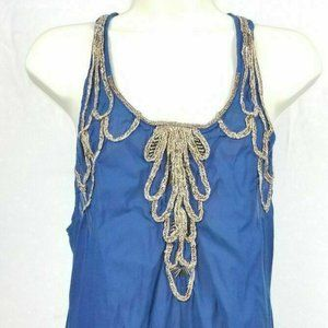 Free People Blue Gold Embroidered Ruffle Top Sz 8